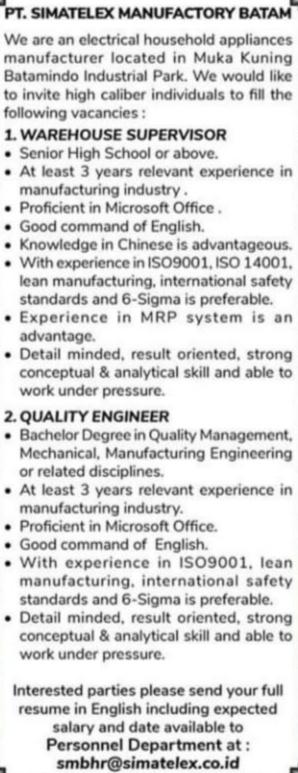 Kerjabatam.com PENGUMUMAN RESMI LOKER PT. Simatelex Manufactory Batam