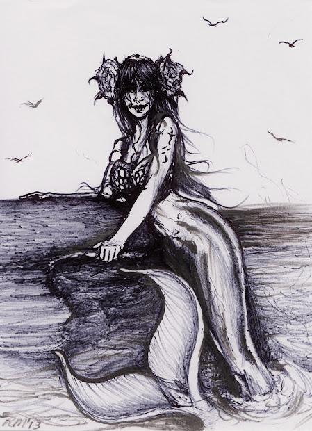 Black and White Mermaid Drawings