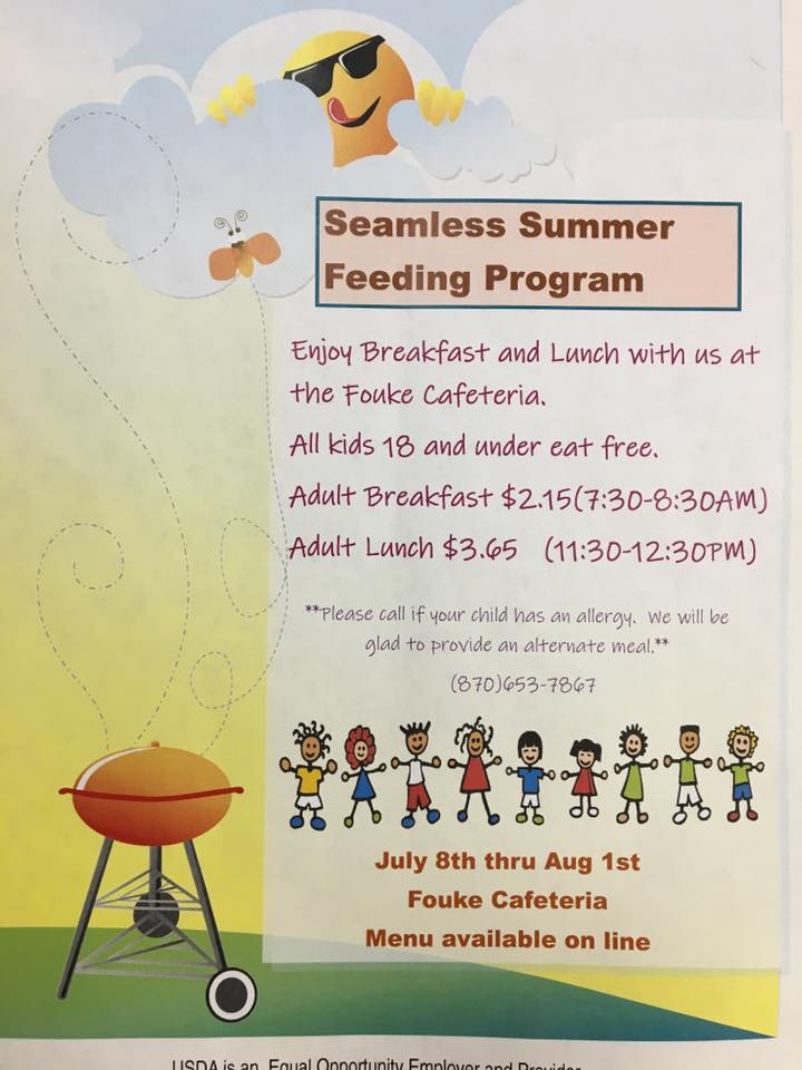 Fouke Cafeteria will feed kids and adults breakfast and lunch July 8 to August 1 — 18 and under eat free