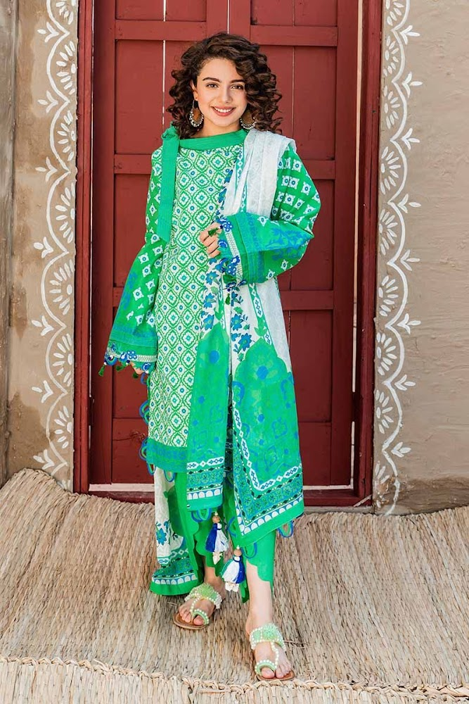 Gul Ahmed Green Printed 3 PC suit Hala pottery summer collection