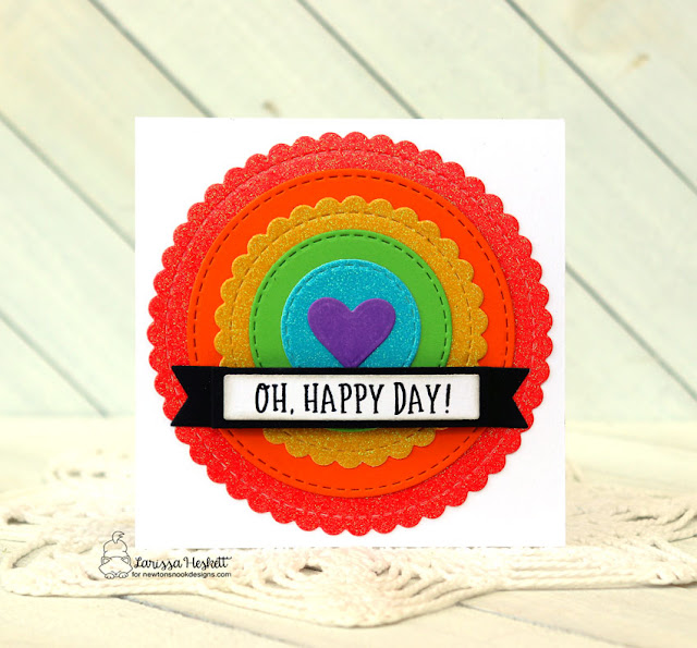 Oh Happy Day Rainbow Circle Card by Larissa Heskett for Newton's Nook Designs using Circle Frames Die Set, Banner Trio Dies and Floral Roundabout Stamp Set #newtonsnookdesigns #newtonsnook #circleframesdie #bannertriodie #floralroundaboutstamp #glittercardstock