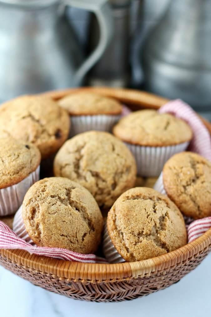 Cinnamon Applesauce & Raisin Rye Muffins in a basket