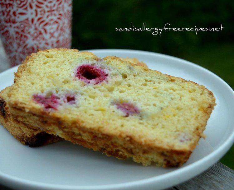 Raspberry Zucchini Loaf (Gluten Free/ Dairy Free/ Refined Sugar Free/ Vegan) from Sandi's Allergy Free Recipes