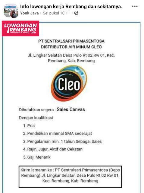 Lowongan Kerja Admin Penjualan Air Minum Cleo PT Sentral Sari Prima Sentosa Rembang