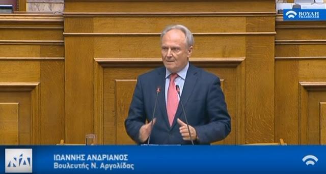 Ανδριανός στη Βουλή για το αγροτικό νομοσχέδιο: Η πρωτογενής παραγωγή είναι η ραχοκοκαλιά της εθνικής οικονομίας