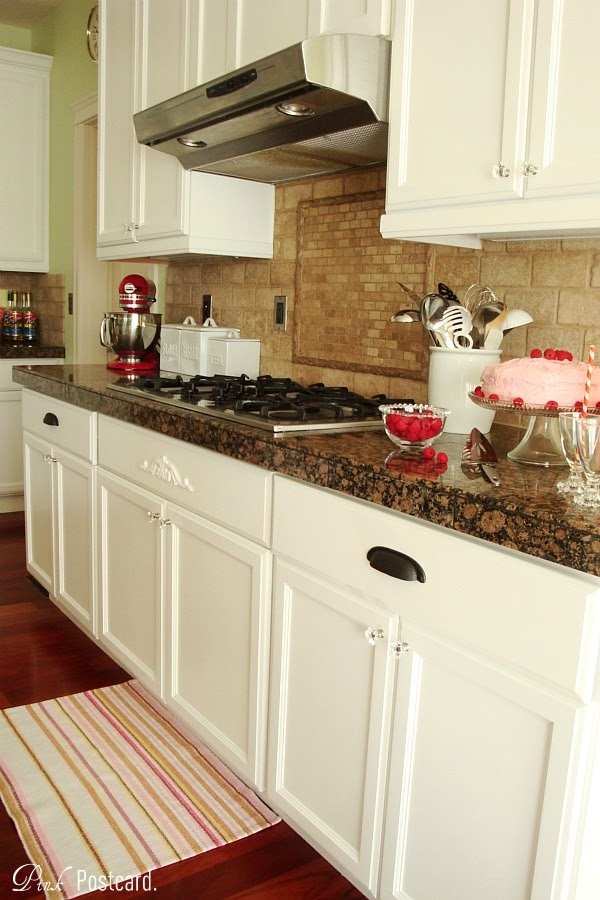 remodelaholic wood kitchen cabinets updated to white rh remodelaholic com White Cabinets Brown Walls Red- Brown White Kitchen Cabinets