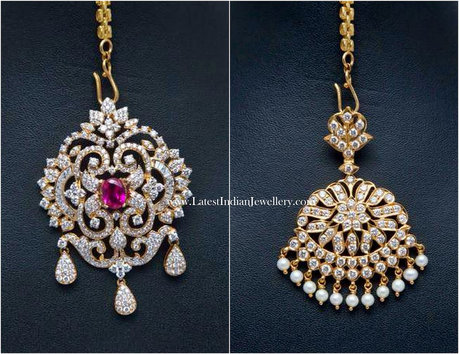 Diamond Pendant Cum Maang Tikka Latest Indian Jewellery