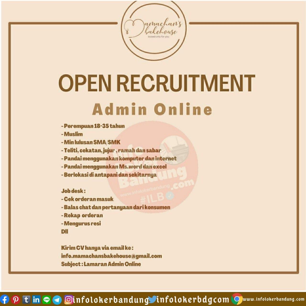 Lowongan Kerja Admin Online Mamachans Bakehouse Bandung Juli 2020