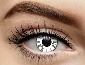 Steampunk contact lenses black and white roman numeral clock time watch