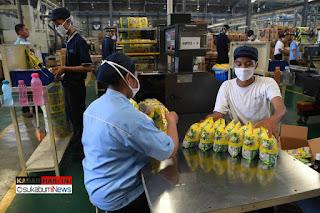Pekerja mengemas popok di Pabrik Softex Indonesia di Sidoarjo, Jawa Timur, Kamis (23/1/202020)