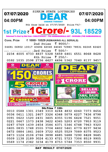 Sikkim State Lottery Sambad 07-07-2020 Today Result 4 PM