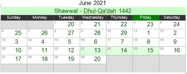 Islamic Hijri Calendar June 2021 (Shawwal - Dhul-Qa'dah 1442)
