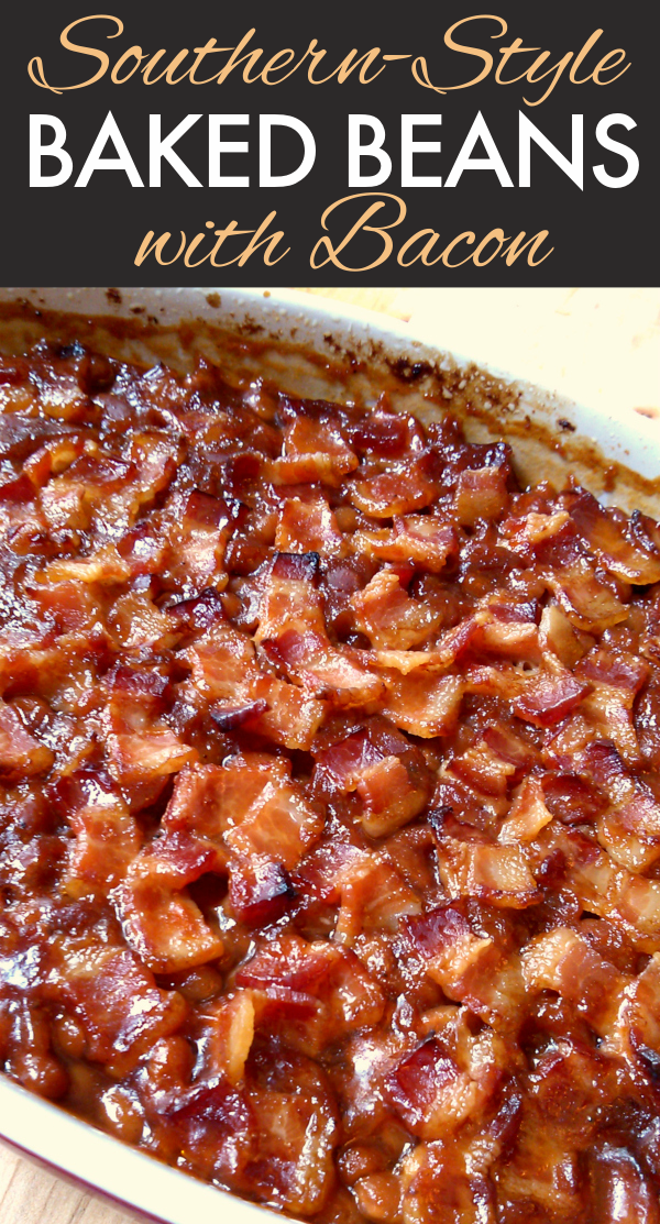 Southern Style Baked Beans! A classic Southern-style baked beans recipe made with brown sugar topped with crispy bacon.