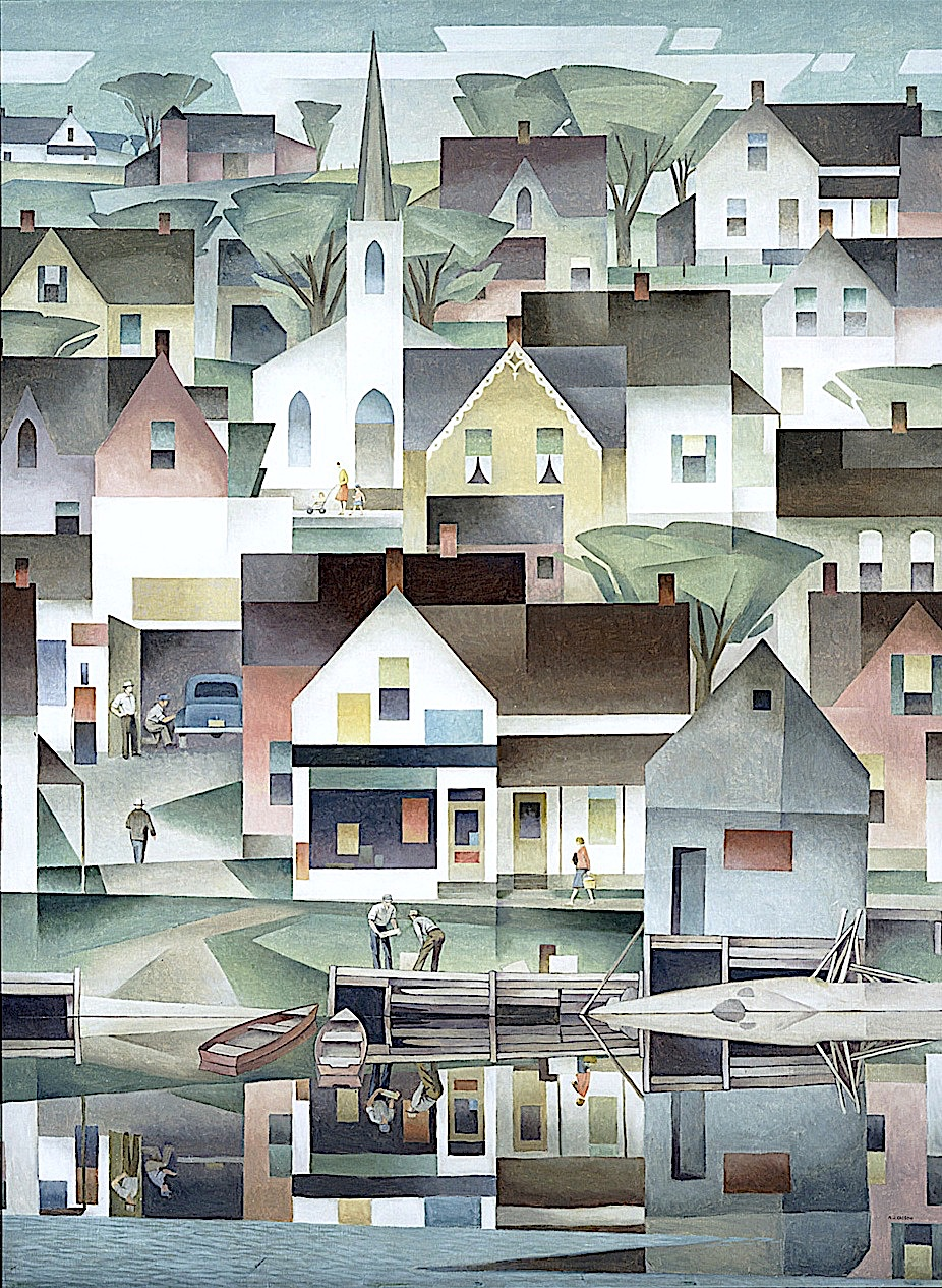 an A.J. Casson painting of a town reflected in glassy calm water at dock