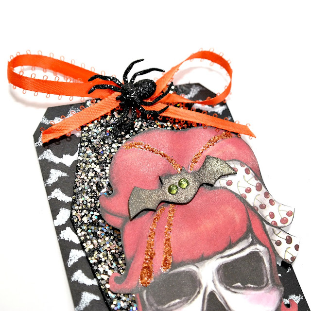 Black Stenciled Chipboard Tag with Glittered Coffin and Skull with Flowers