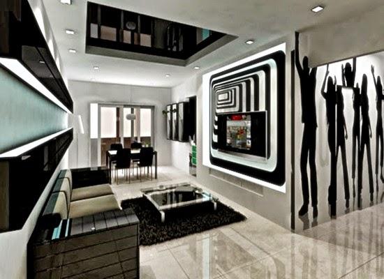 Interior Rumah Warna Hitam Putih