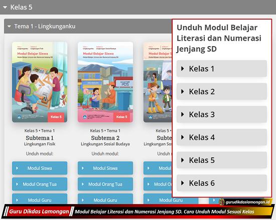 Modul Belajar Literasi dan Numerasi Jenjang SD. Cara Unduh Modul Sesuai Kelas