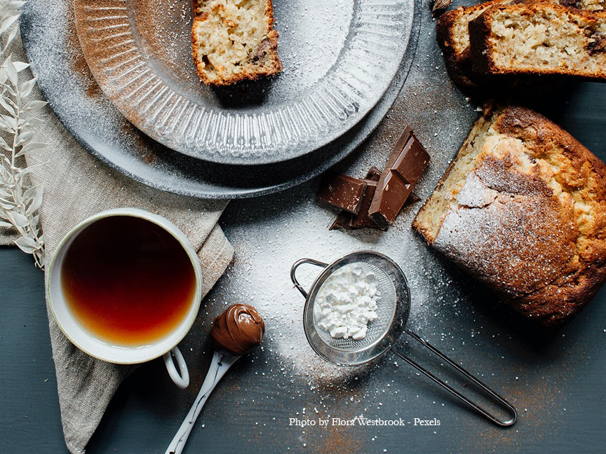 Chocolate banana bread with a cup of tea