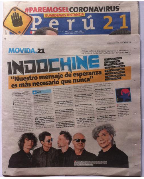 """Perú 21: Indochine: """"Nuestro mensaje de esperanza es más necesario que nunca"""""""