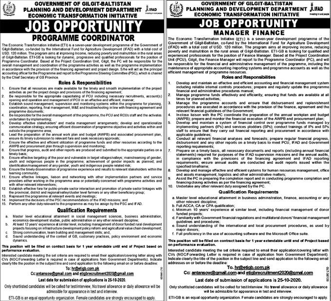 JOBS | Government Of Gilgit Baltistan Planing & Development Department.Latest Jobs