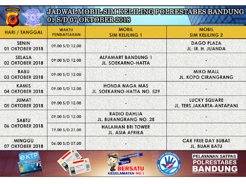 Jadwal SIM Keliling Polrestabes Bandung Oktober 2018