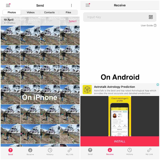 Send photos from iPhone to Android using SendAnywhere app