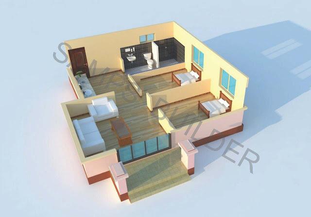 แบบบ้านชั้นเดียวราคาประหยัด 2 ห้องนอน
