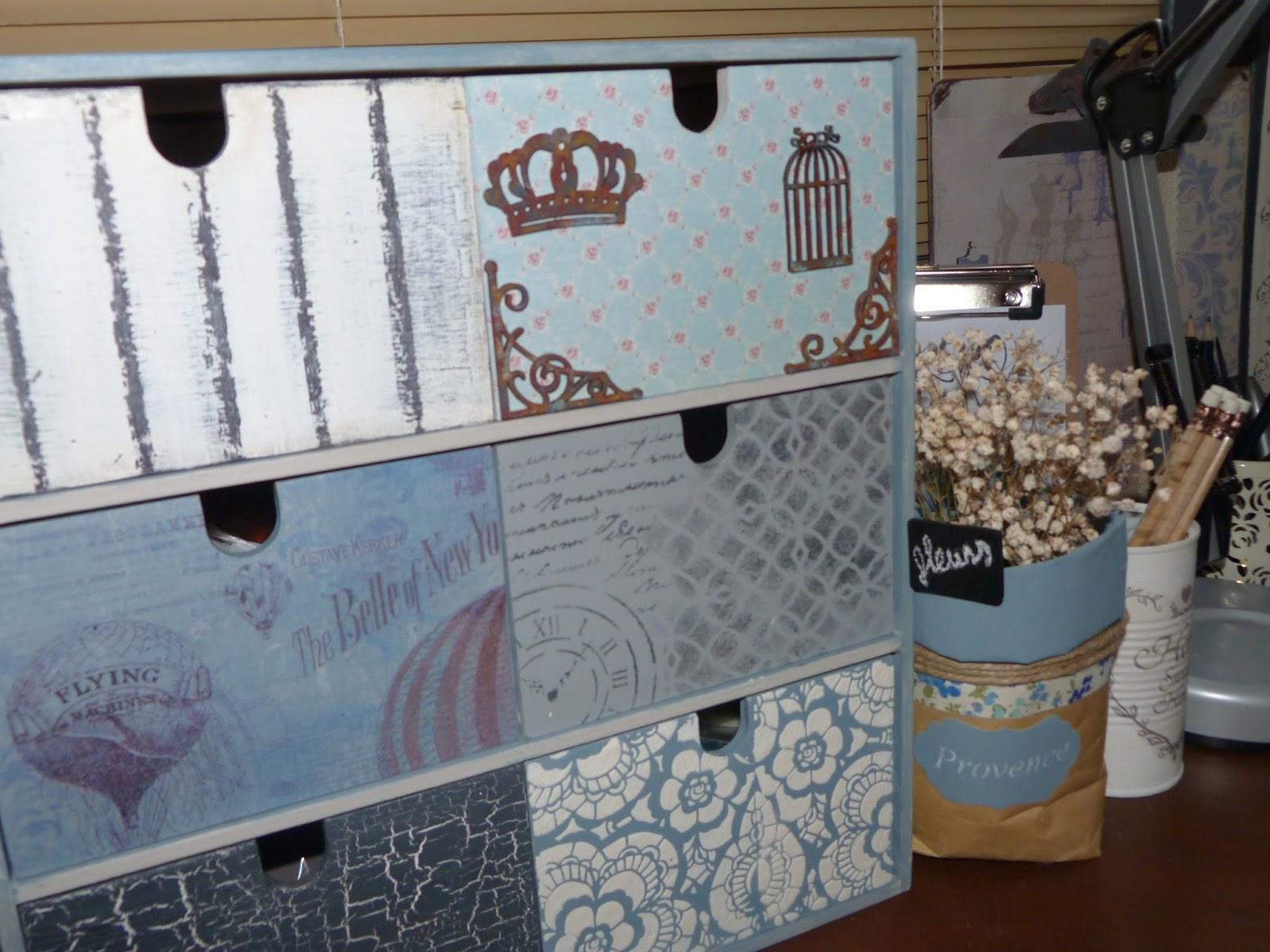 Cajonera para escritorio decorada isabel vintage - Papel para forrar cajones ...