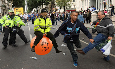 Police chase on a space hopper picture