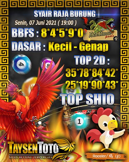 Syair Raja Burung Toto Macau Senin 07 Juni 2021