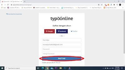 Cara log in (masuk) atau sign up (daftar) website typoonline