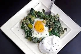 Skillet-Baked Eggs with Spinach,Chili Oil, and Yogurt.