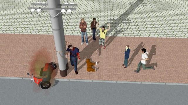 Tái hiện cảnh trộm chó bị bắt  trên 3D máy tính có kèm model tham khảo