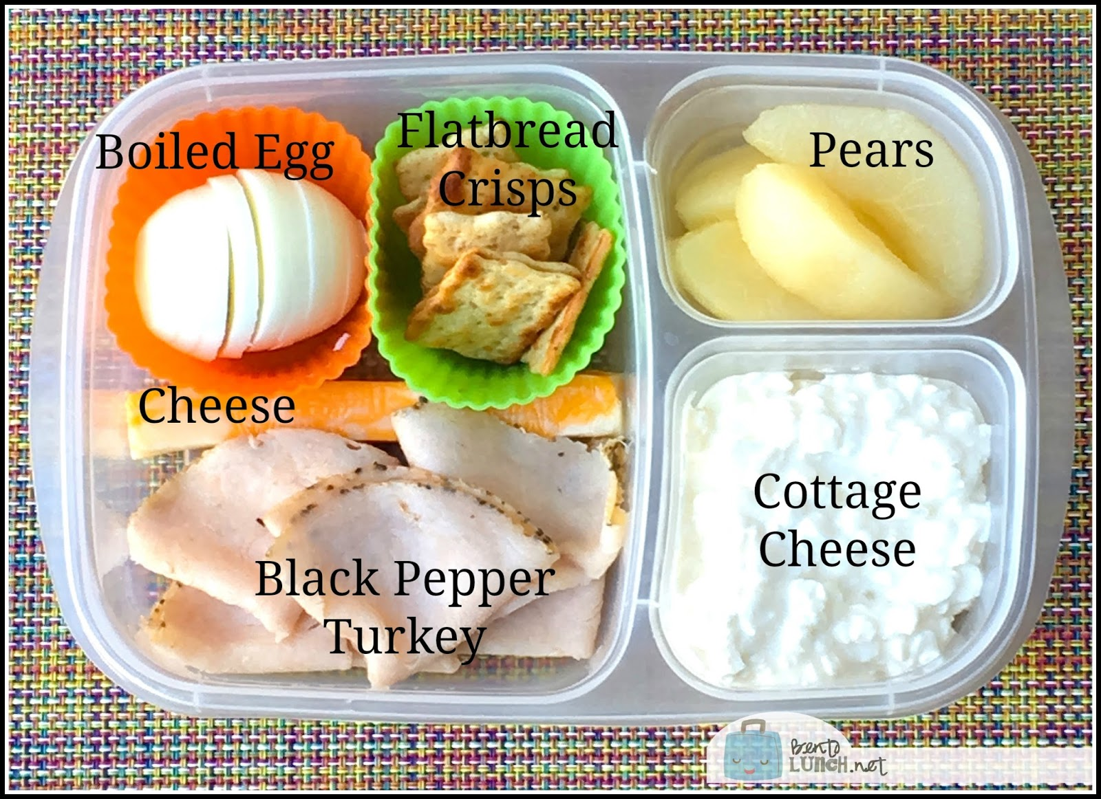 1 marble cheese stick - 60 calories, 5 grams protein, 4.5 grams fat 6  slices black pepper deli turkey - 50 calories, 9 grams protein, 1 gram fat