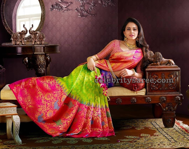 Rakul Preet Green Pink Bridal Saree