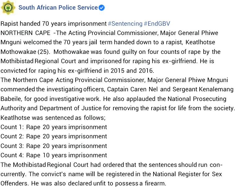 Court Sentence South African Man To 70 years In Prison For R*ping His Ex-girlfriend #Arewapublisize