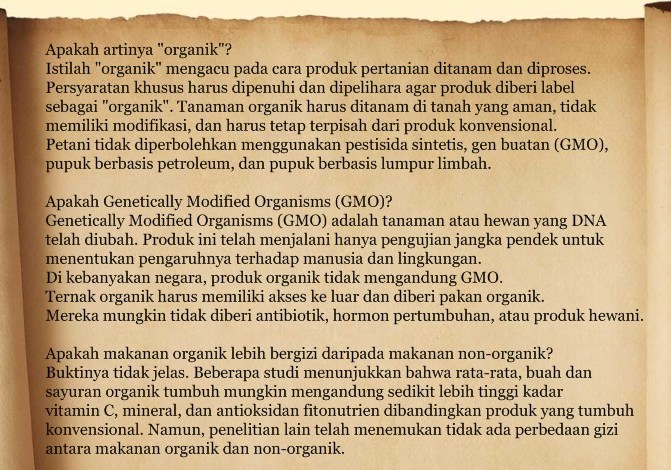 Arti organik, GMO, gizi makanan organik dan non organik