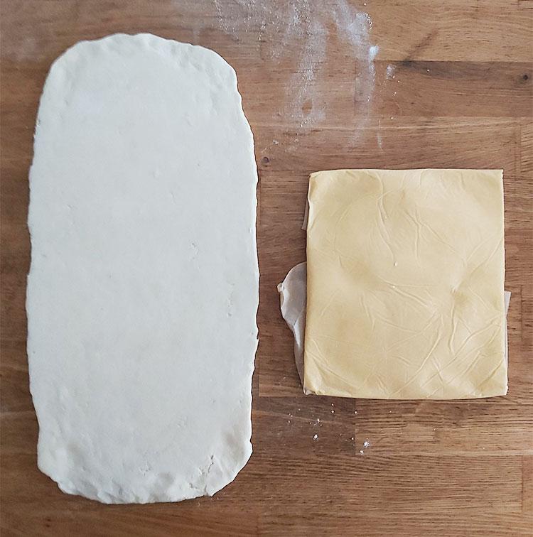 Carré de beurre et détrempe