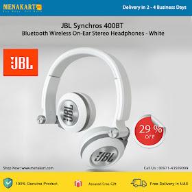 18a6156b409 JBL Synchros 400BT Bluetooth Wireless On-Ear Stereo Headphones - White