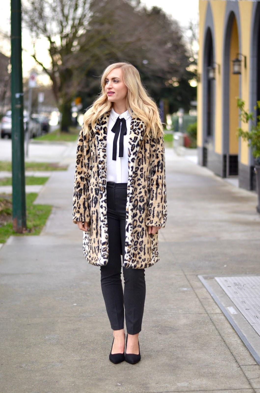 Exact Leopard Coat    Similar Leopard Coat    Similar Bow Blouse    Grey  Pants    Suede Block Heels (so comfortable!) 4a210375c574