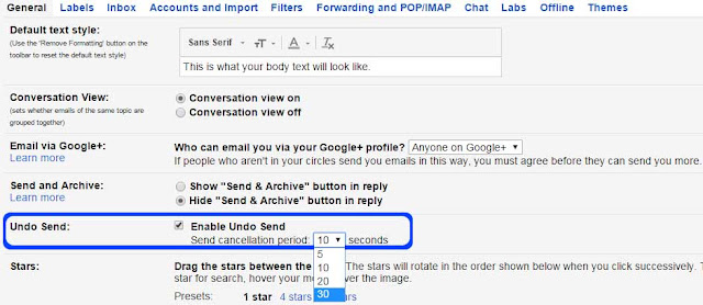 how to unsend an email in gmail - Gmail undo send- settings-general