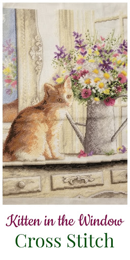 Kitten in the Window Cross Stitch | Counted Cross Stitch | Dust Bunnies and Tabby Tales