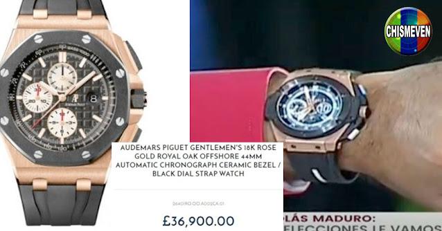 Nicolás Maduro muestra el reloj de 40.000 dólares que le regaló Maradona antes de morir