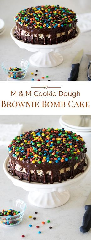 M&M Cookie Dough Brownie Bomb Cake