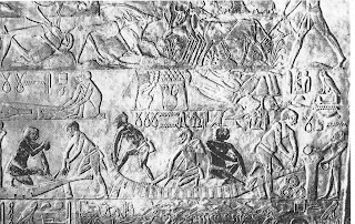 Reed raft under construction in an Egyptian 5th Dynasty tomb relief