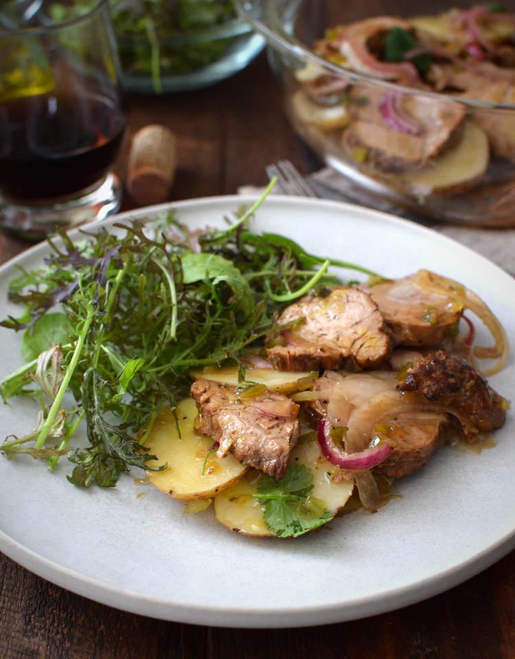 salpicón de carne en vinagreta con papas y cebolla