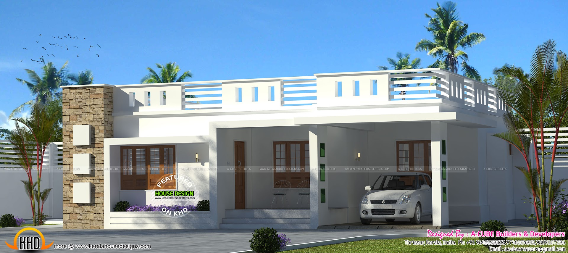 One Floor Flat Roof Home 1566 Sq Ft Kerala Home Design And Floor Plans 8000 Houses