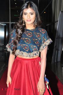 Hebah Patel in Crop Top choli and Maroon Skirt at Eedo Rakam Aado Rakam Success Meet