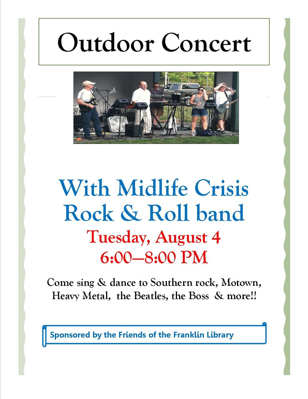 Midlife Crisis Rock and Roll Band Concert - Aug 4, 6:00 PM