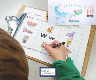 Student writing on w worksheet for beginning sounds